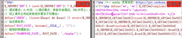 PHP代码加密混淆前、PHP代码加密后